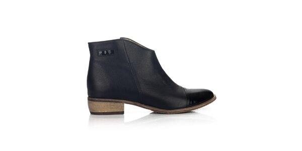 Dámske čierne topánky s lesklou špičkou Joana and Paola
