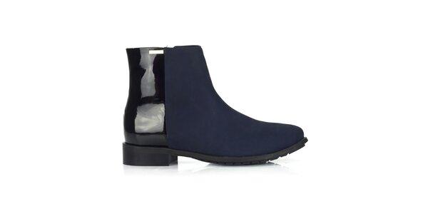 Dámske modro-čierne členkové topánky Joana and Paola