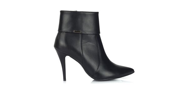 Dámske čierne kožené topánky na úzkom opätku Joana and Paola