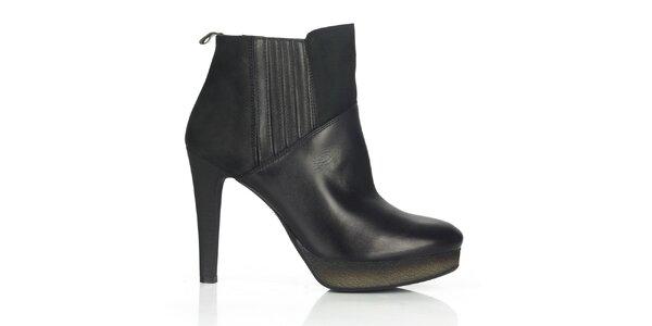 Dámske čierne kožené členkové topánky na opätku Joana and Paola