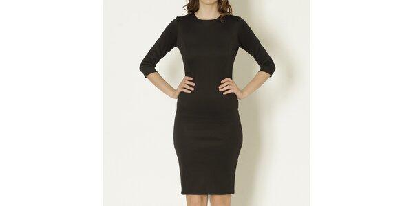 Dámske čierne púzdrové šaty s polodlhým rukávom Keren Taylor