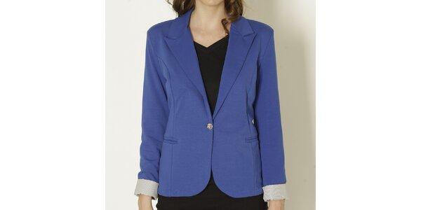 Dámske modré sako so svetlými manžetami Keren Taylor