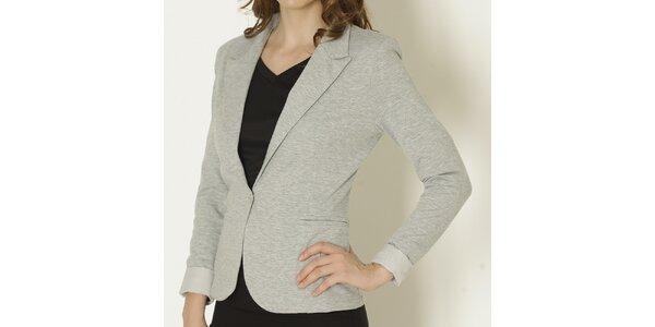 Dámske šedé sako so svetlými manžetami Keren Taylor