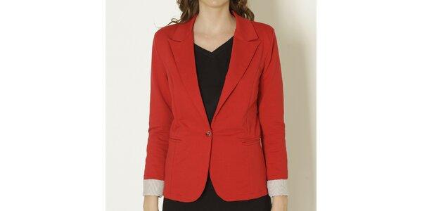 Dámske červené sako so svetlými manžetami Keren Taylor