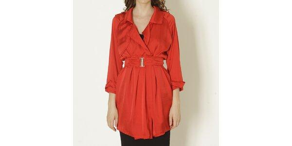 Dámsky červený kabát s opaskom Keren Taylor