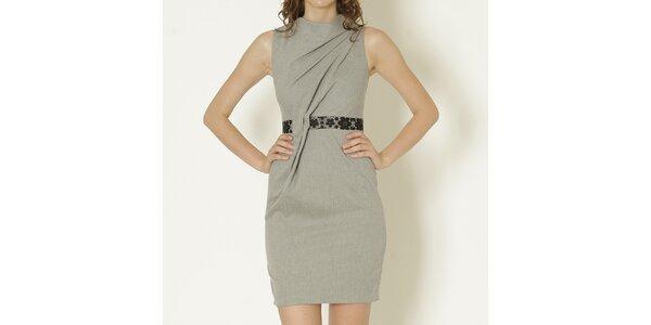 Dámske šedé šaty s ozdobným pásom Keren Taylor