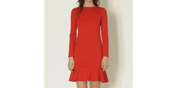 Dámske červené šaty s dlhým rukávom Keren Taylor