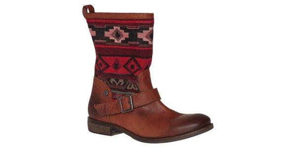 Dámske koňakovo hnedé topánky s farebnými vzormi Tommy Hilfiger