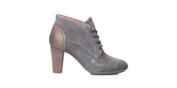 Dámske šedé členkové topánky na opätku Tommy Hilfiger