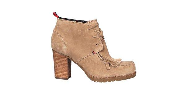 Dámske béžové členkové topánky Tommy Hilfiger