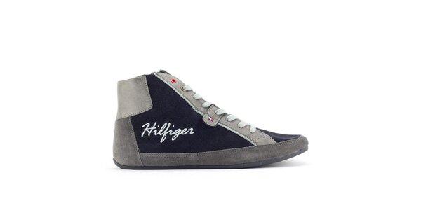 Dámske šedo-modré členkové tenisky Tommy Hilfiger