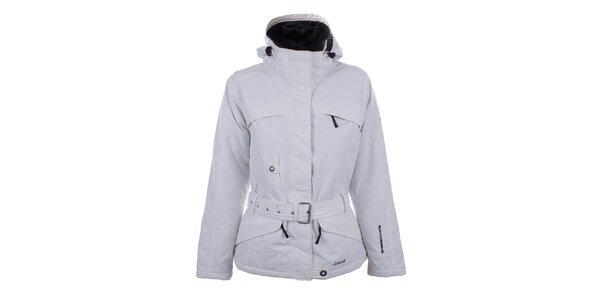 Dámska biela zimná bunda s kožúškom a opaskom Joluvi