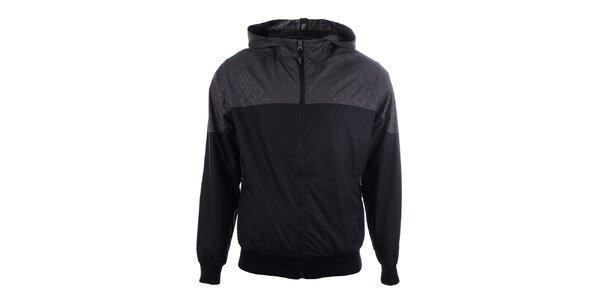 Pánska šedo-čierna športová bunda s kapucňou Joluvi