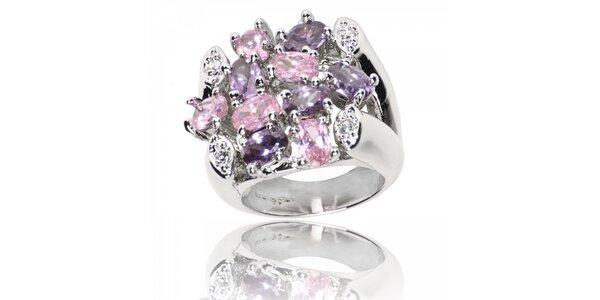 Dámsky prsteň Bague a Dames s fialovými a ružovými kamienkami