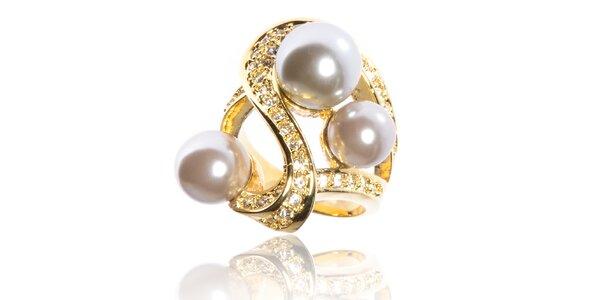 Dámsky zlatý prsteň Bague a Dames s perlami