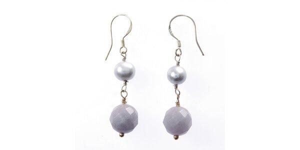 Dámske náušnice Orchira s perlou a chalcedónom