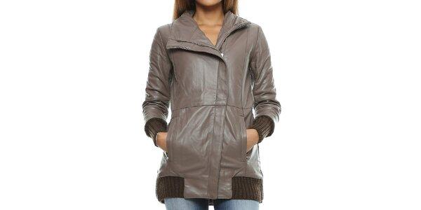 e666df272a82 Dámsky šedohnedý kožený kabát s pleteným chrbtom Mangotti