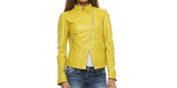 Dámska žltá bunda so stojačikom Mangotti