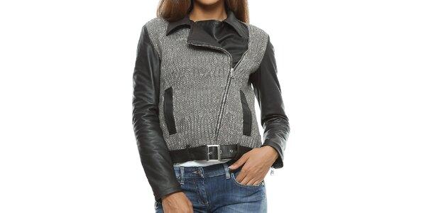 Dámska čierno-šedá kožená bunda s pleteninou Mangotti