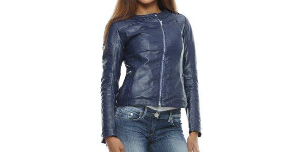 Dámska tmavo modrá kožená bunda s asymterickým zipsom Mangotti