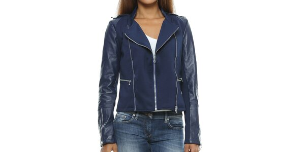 Dámska tmavo modrá bunda s koženými rukávmi Mangotti
