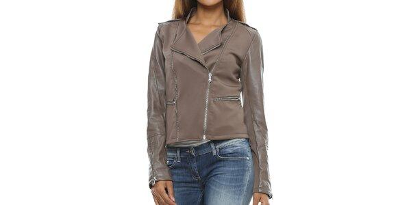 Dámska šedohnedá bunda s koženými rukávmi Mangotti cd45b50aabf