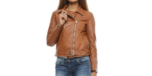 Dámska koňakovo hnedá kožená bunda s opaskom Mangotti
