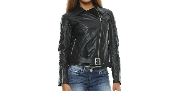 Dámska čierna kožená bunda s opaskom Mangotti