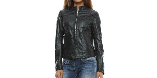 Dámska čierna kožená bunda so stojačikom Mangotti