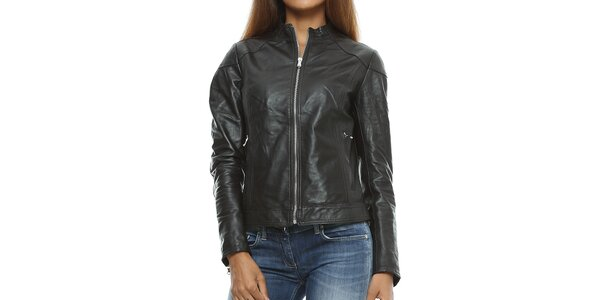 Dámska tmavá kožená bunda so stojačikom Mangotti