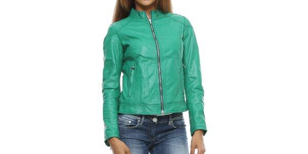 Dámska zelená kožená bunda so stojačikom Mangotti