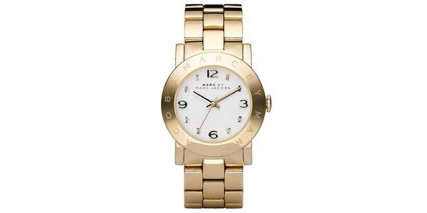 Dámske pozlátené oceľové hodinky so svetlým ciferníkom Marc Jacobs