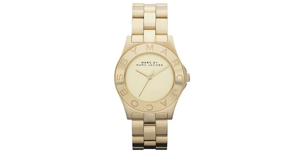 Dámske pozlátené oceľové hodinky s jednoduchým ciferníkom Marc Jacobs
