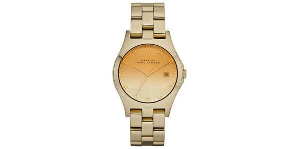 Dámske zlaté hodinky s nápisom Marc Jacobs