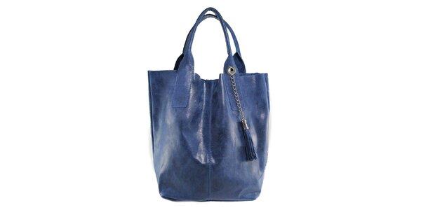 Dámska modrá kožená kabelka so strapcom Florence Bags