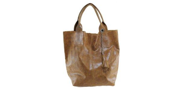 Dámska hnedá kožená kabelka so strapcom Florence Bags