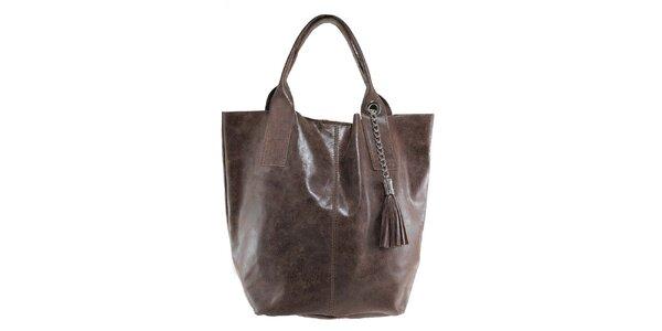 Dámska gaštanová kožená kabelka so strapcom Florence Bags