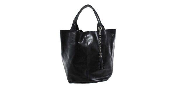 Dámska čierna kožená kabelka so strapcom Florence Bags