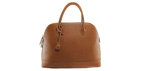 Dámska hnedá kožená kabelka s odnímateľným popruhom Florence Bags
