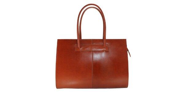 Dámska svetlo hnedá kožená kabelka s dlhšími pútkami Florence Bags