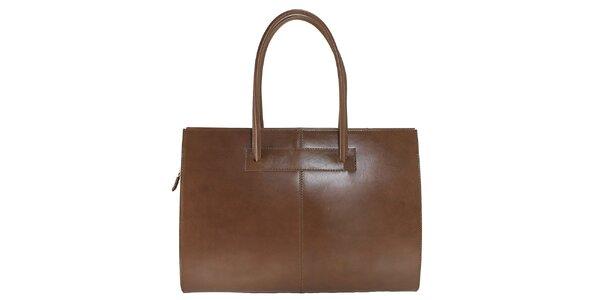 Dámska hnedá kožená kabelka s dlhšími pútkami Florence Bags