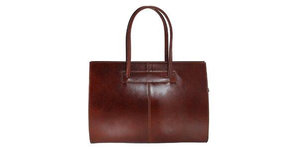 Dámska tmavo hnedá kožená kabelka s dlhšími pútkami Florence Bags