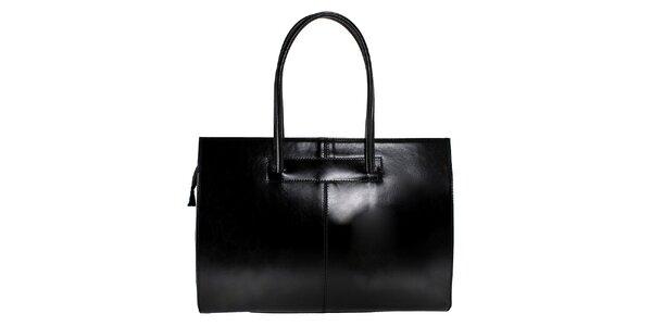 Dámska čierna kožená kabelka s dlhšími pútkami Florence Bags