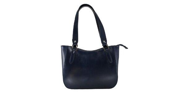 Dámska tmavo modrá kožená kabelka s dlhými pútkami Florence Bags