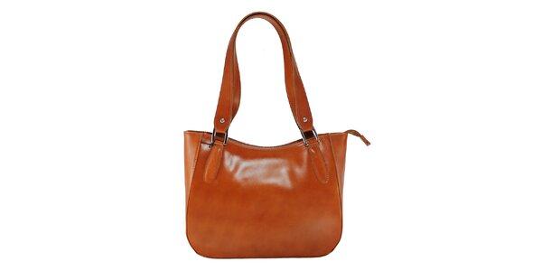 Dámska svetlo hnedá kožená kabelka s dlhými pútkami Florence Bags
