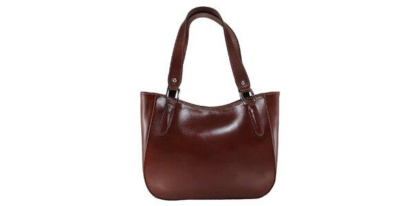 Dámska tmavo hnedá kožená kabelka s dlhými pútkami Florence Bags