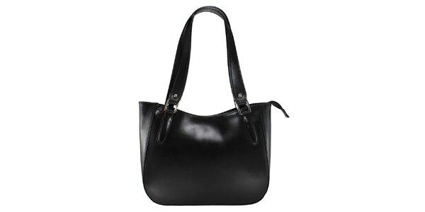 Dámska čierna kožená kabelka s dlhými pútkami Florence Bags