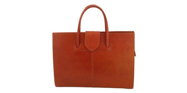 Dámska svetlo hnedá kožená obdĺžniková kabelka s klopou Florence Bags