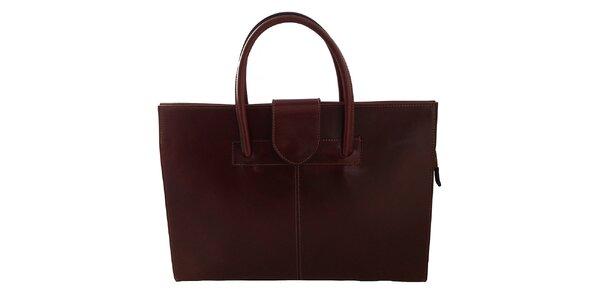 Dámska tmavo hnedá kožená obdĺžniková kabelka s klopou Florence Bags