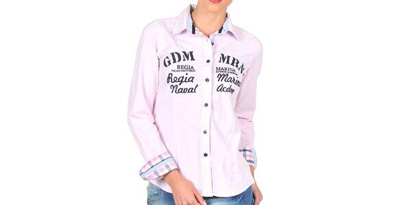 Dámska ružová košeľa s nápismi Giorgio di Mare